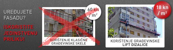 Uređujete fasadu? Iskoristite priliku! Korištenje građevinske lift dizalice samo 15 kn po m2!